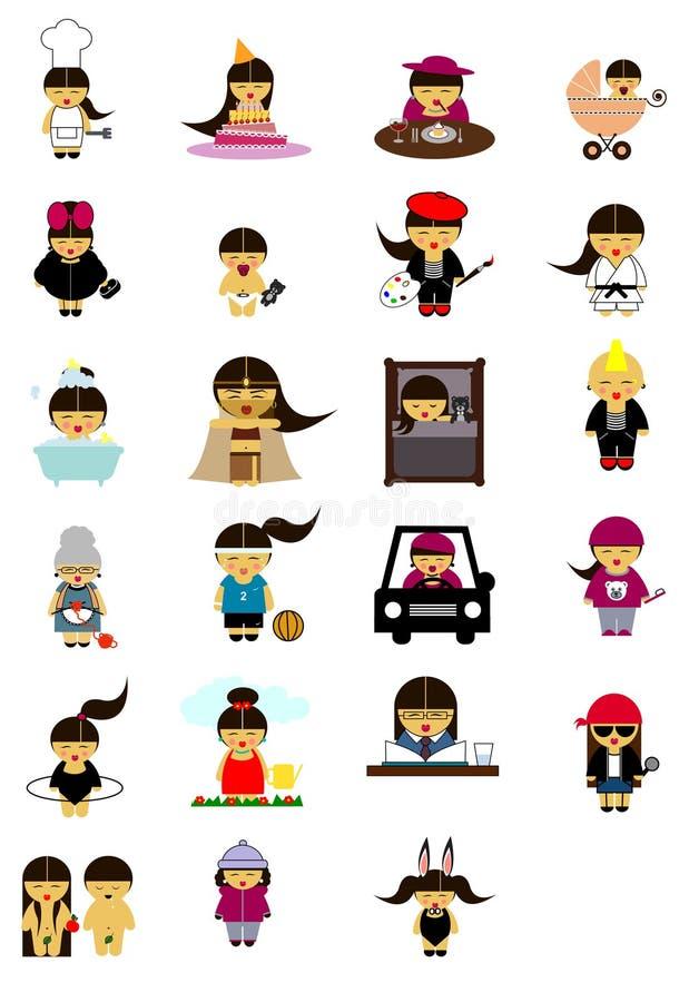 Gulliga flickaktigt illustrationer av lilla flickan stock illustrationer