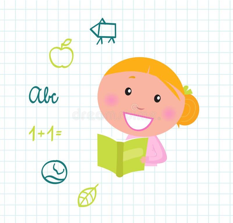 gulliga flickasymboler för blond bok som läser skolan vektor illustrationer