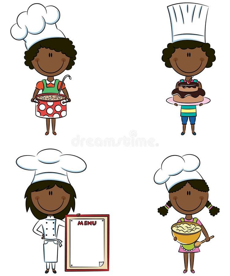 gulliga flickor för afrikansk amerikankock vektor illustrationer