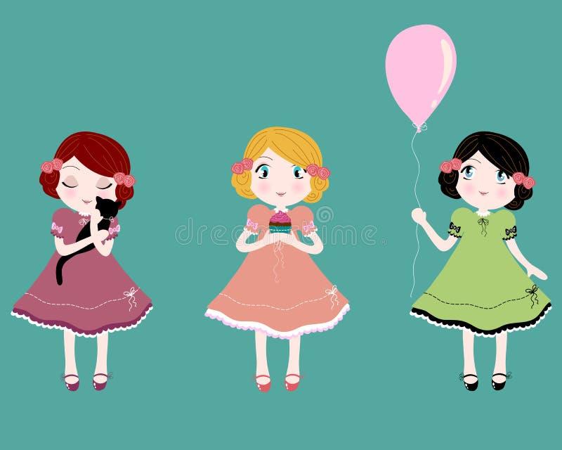 gulliga flickor little vektor illustrationer