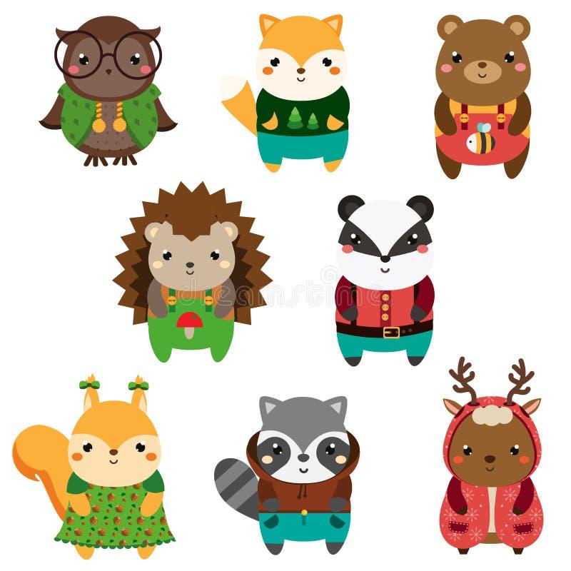 Gulliga Forest Animals Uppsättning för djur för tecknad filmkawaiidjurliv royaltyfri illustrationer