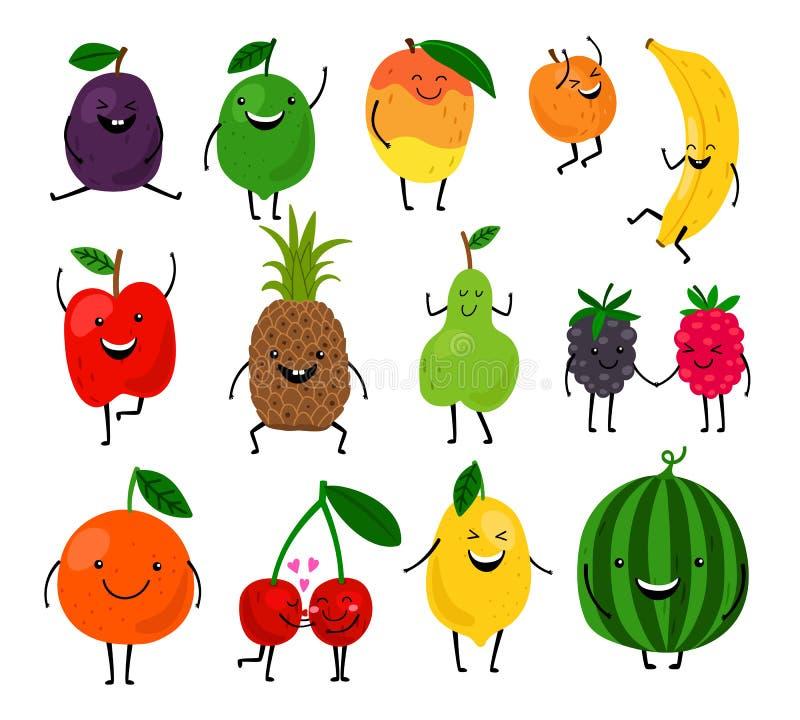 Gulliga frukttecken för ungar vektor illustrationer