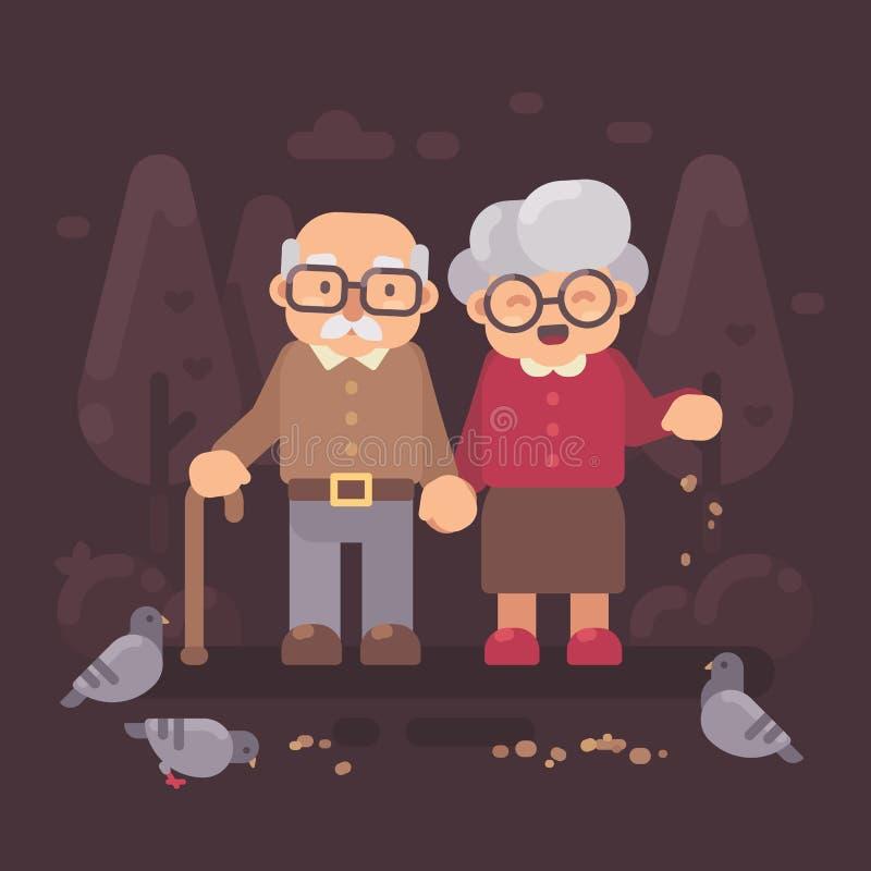 Gulliga gamla par som går i parkera och de matande duvorna stock illustrationer