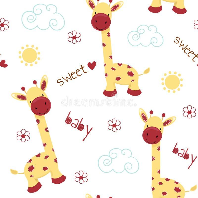 Gulliga giraff på en vykort med inskriften Färgrik gullig bakgrundsvektor som är bra för att skriva ut seamless modell royaltyfri illustrationer