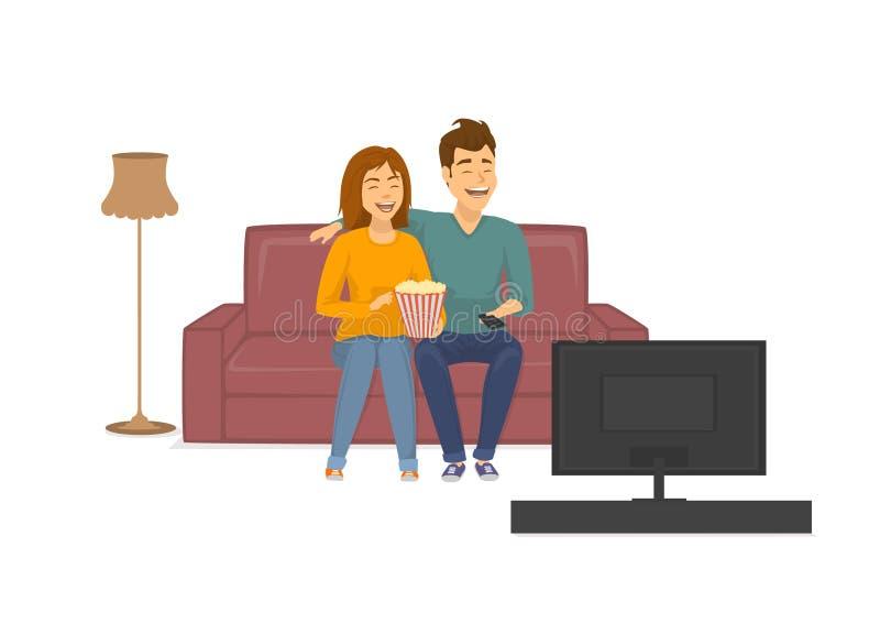 Gulliga gladlynta skratta par som håller ögonen på den roliga TV-program som hemma sitter på soffan stock illustrationer