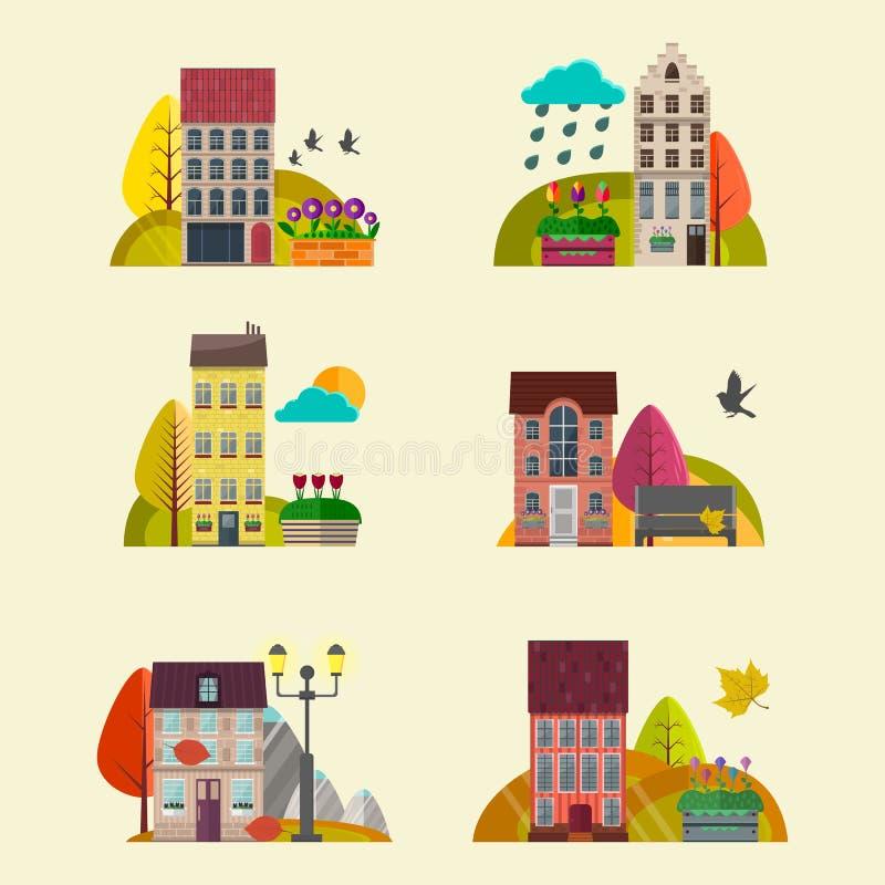 Gulliga hösthus vektor Naturlandskapbakgrund med små hus vektor illustrationer