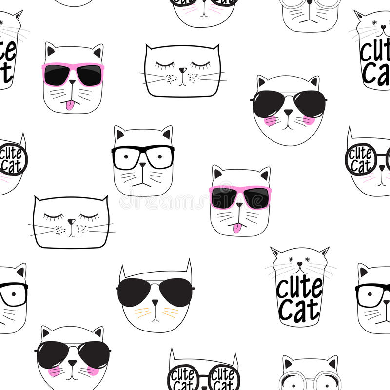 Gulliga Handdrawn Cat Seamless Pattern Vector Illustration royaltyfri illustrationer