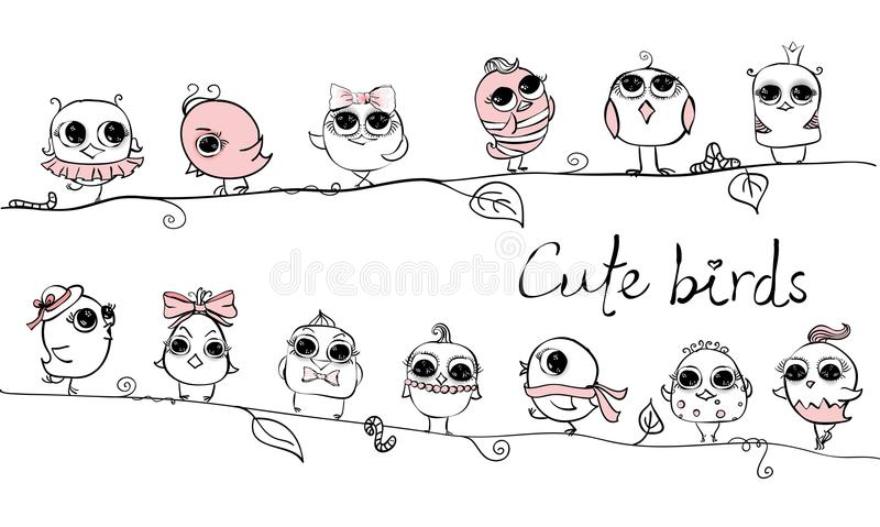 Gulliga hipsterfåglar stock illustrationer