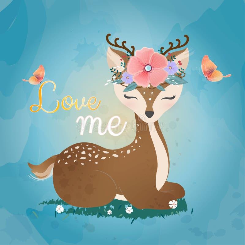 Gulliga hjortar med blommakronan stock illustrationer