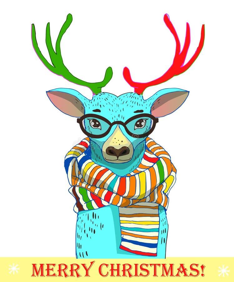 Gulliga hjortar med halsduken royaltyfri illustrationer