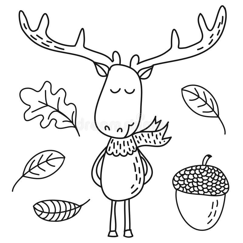 Gulliga hjortar planlägger det utdragna klottret för den roliga handen, tecknad filmtecken royaltyfri illustrationer