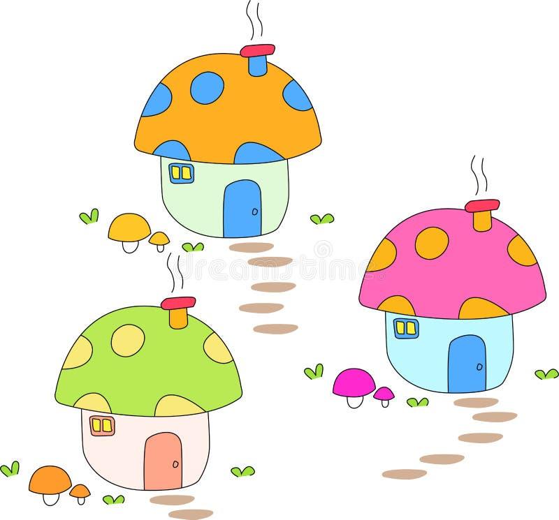 gulliga home champinjoner vektor illustrationer