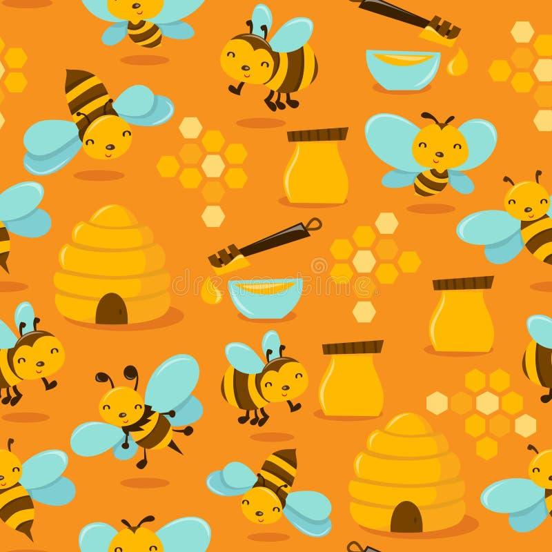 Gulliga Honey Bee Seamless Pattern Background vektor illustrationer