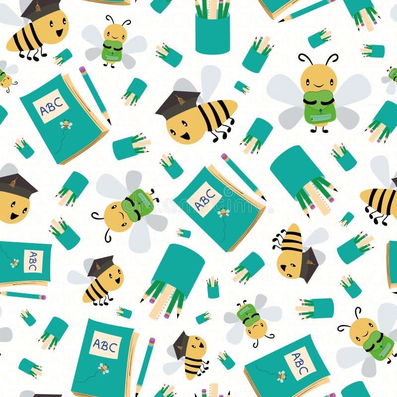 Gulliga honungbin med böcker och blyertspennor som tillbaka går till skola Sömlös vektormodell på vit texturerad bakgrund stort vektor illustrationer