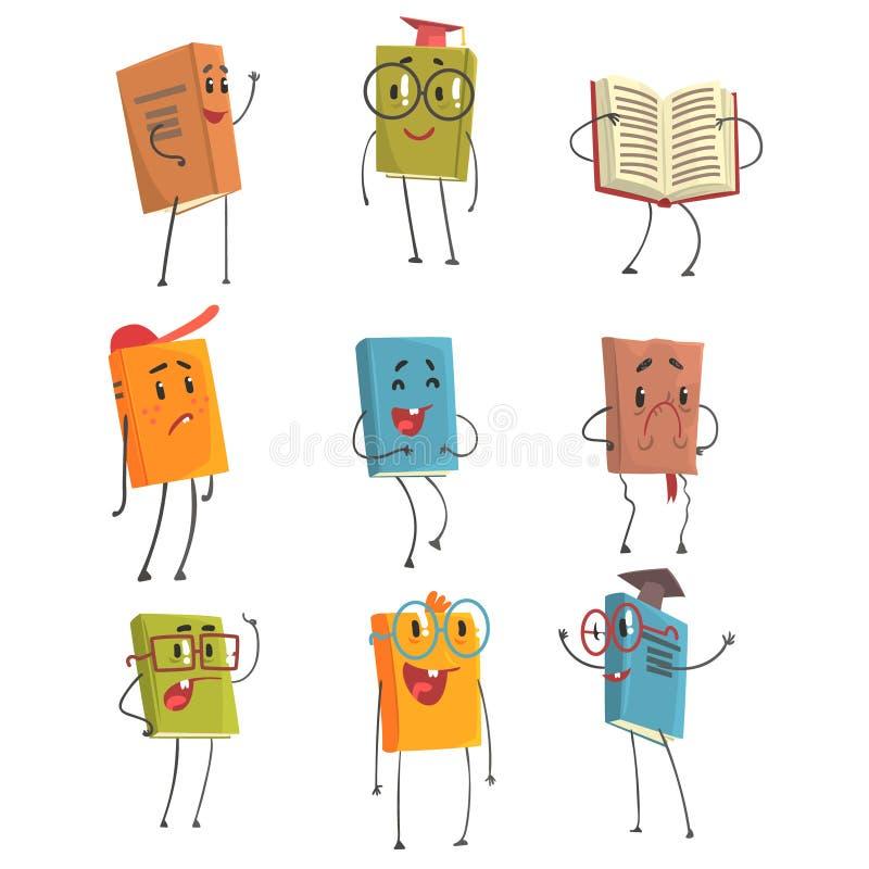 Gulliga humaniserade bokEmoji tecken som föreställer olika typer av litteratur, ungar och skolböcker stock illustrationer