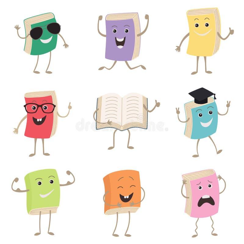 Gulliga humaniserade boktecken som föreställer olika typer av litteratur, ungar och skolan Uppsättning av den roliga boken stock illustrationer