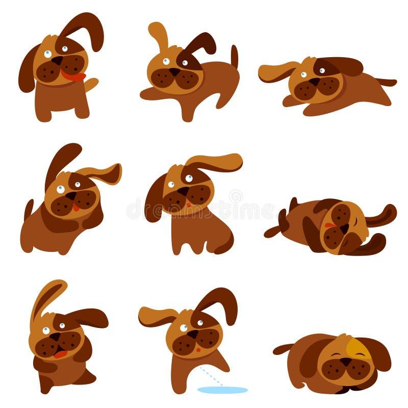 gulliga hundar för tecknad film royaltyfri illustrationer
