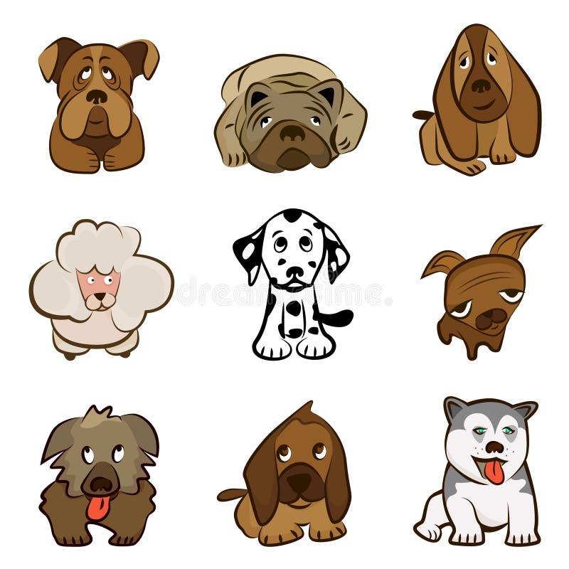 gulliga hundar för tecknad film vektor illustrationer