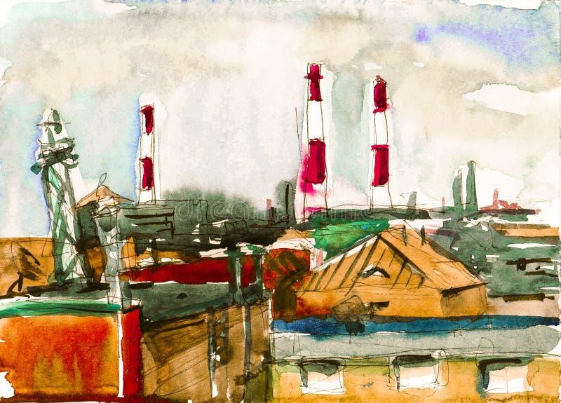 Gulliga hus med rött takvattenfärgkonstverk arkivbilder