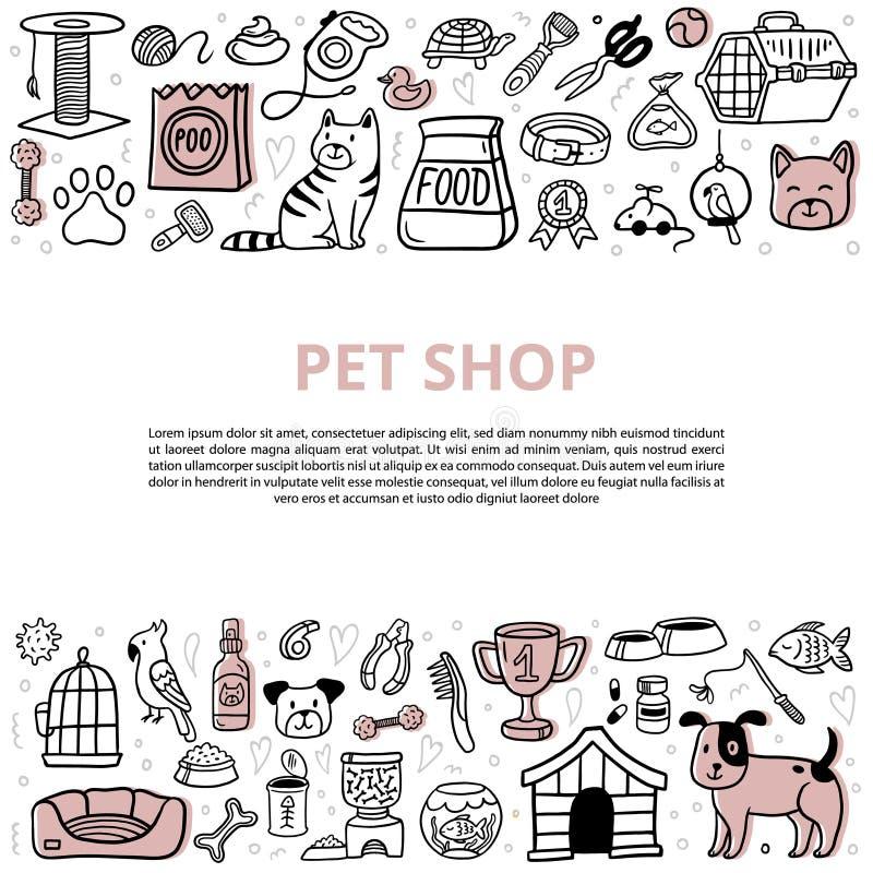 Gulliga husdjur och olika omsorgbeståndsdelar med text stock illustrationer