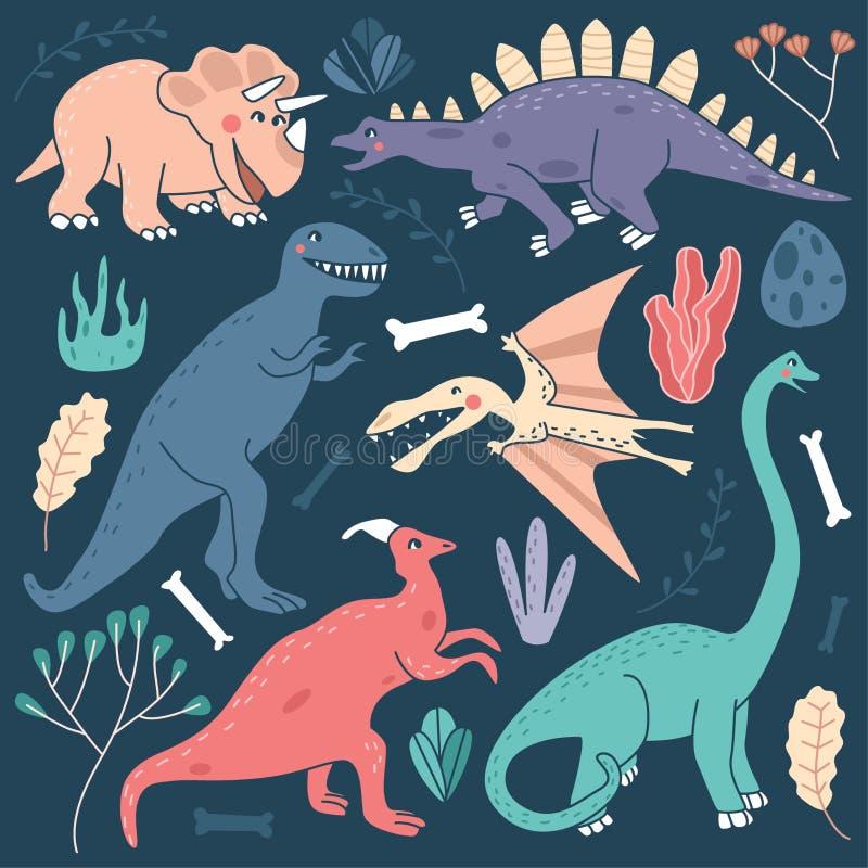 Gulliga illustrationer för dinosaurievektoruppsättning - Triceratops, Stegosaurus, tyrannosarie Rex, flygödla, Saurolophus, Plesi vektor illustrationer