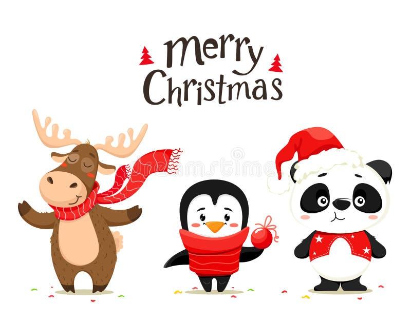 Gulliga juldjur, hjortar, panda och pingvin Handskrifttext, bokstäver glad jul Vektorn isolerar på en vit backgrou stock illustrationer
