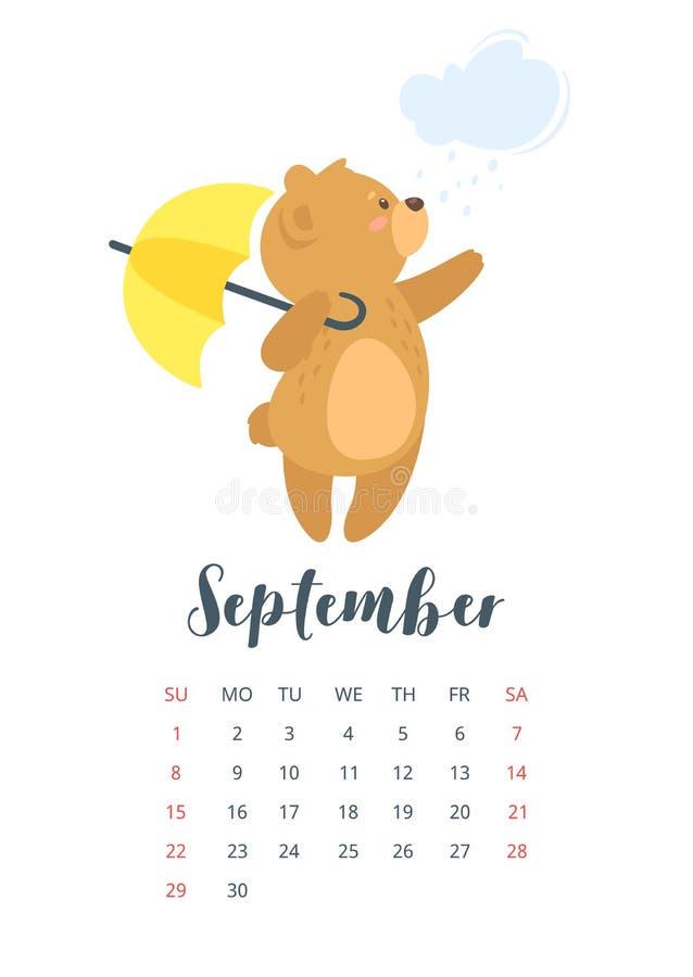 2019 gulliga kalender för nallebjörn stock illustrationer