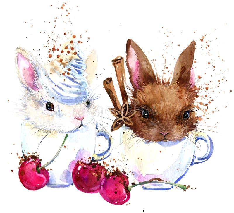 Gulliga kanin- och kaffeT-tröjadiagram kaninillustration med texturerad bakgrund för färgstänk vattenfärg stock illustrationer