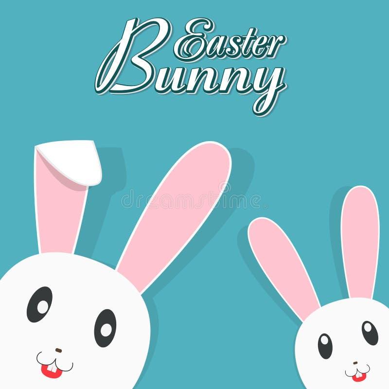 Gulliga kaniner för lycklig påskberöm stock illustrationer