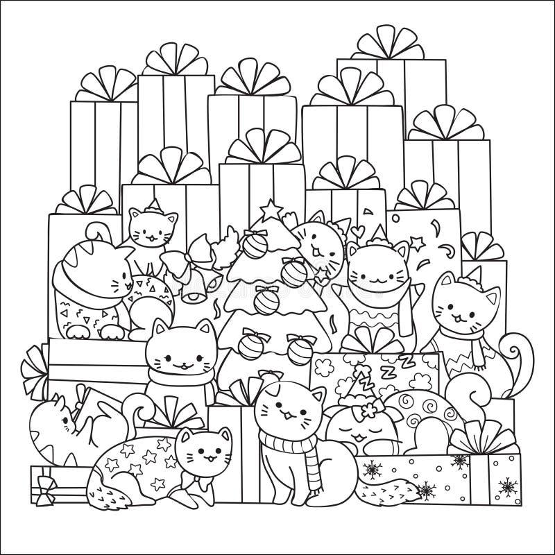 Gulliga katter i julparti med vänner planlägger för den utskrivavna utslagsplats, kort, inbjudningar och sidan för färgläggningbo stock illustrationer