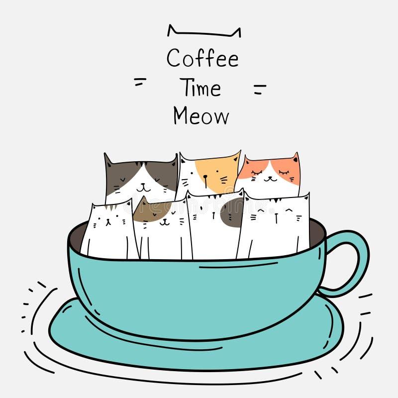 Gulliga katter i koppen kaffe mer tid royaltyfri illustrationer