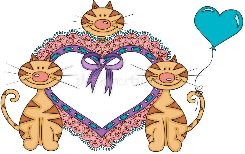 Gulliga katter med hjärta som broderas på bandet, snör åt royaltyfri illustrationer