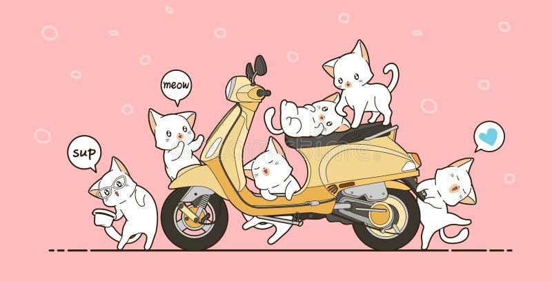 6 gulliga katter och gul motorcykel i tecknad filmstil stock illustrationer