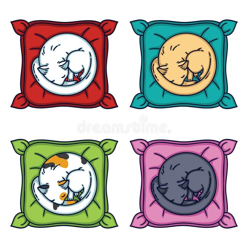 Gulliga katter som sover på en kudde inställda katter Isolerade objekt på vit bakgrund också vektor för coreldrawillustration vektor illustrationer