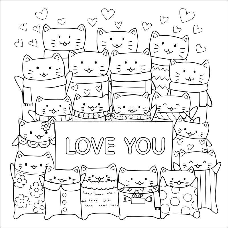 Gulliga katter som visar förälskelse via etikettdesignen för tapetkonst, utskrivaven utslagsplats och sidan för färgläggningbok f vektor illustrationer