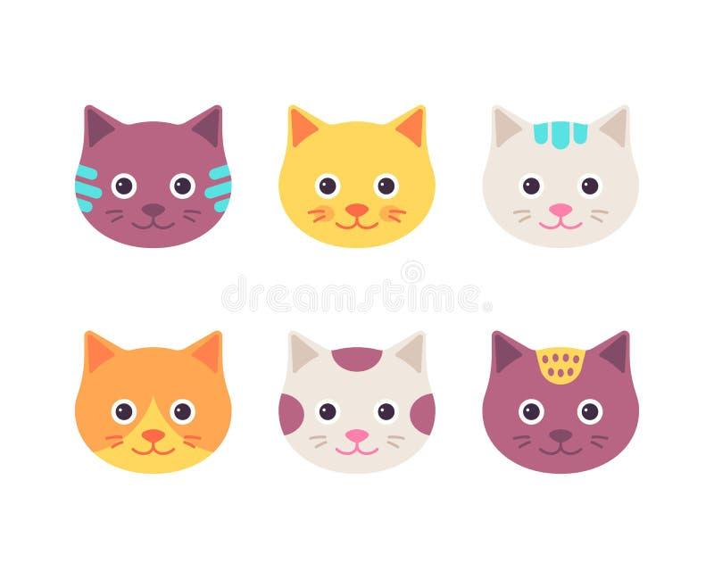 Gulliga kattframsidor också vektor för coreldrawillustration Tecknad filmkattungehuvud royaltyfri illustrationer