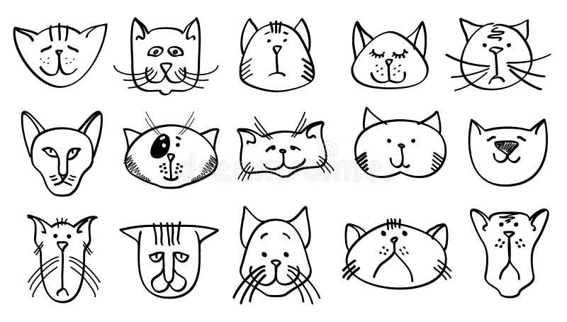 Gulliga katthuvud i hand dragen stil också vektor för coreldrawillustration stock illustrationer