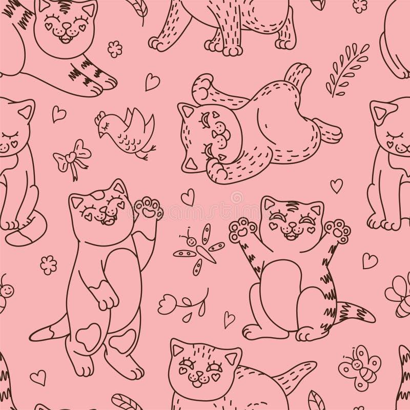 Gulliga kattungar stock illustrationer