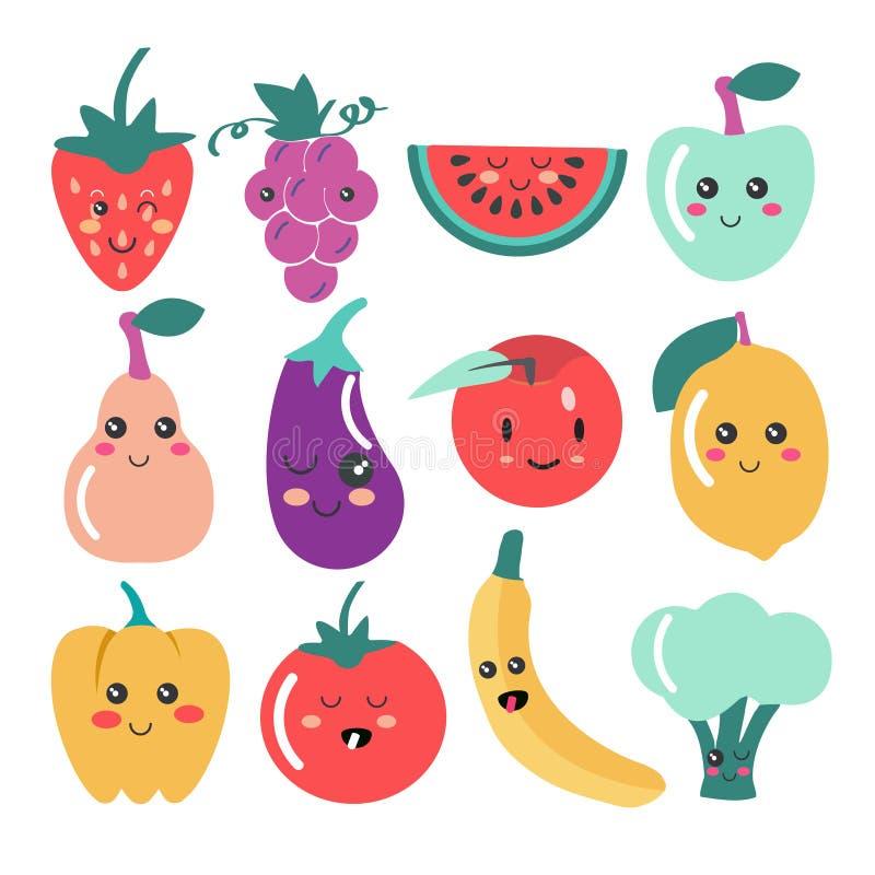 Gulliga Kawaii frukt- och grönsaksymboler royaltyfri illustrationer