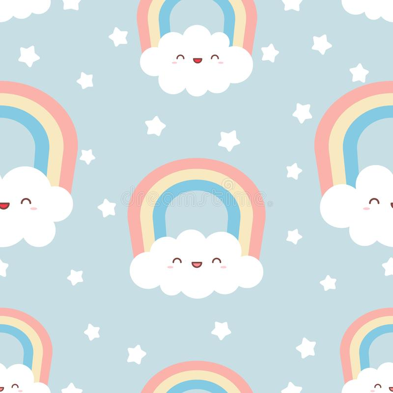 Gulliga kawaiimoln med regnbågen och stjärnor fotografering för bildbyråer