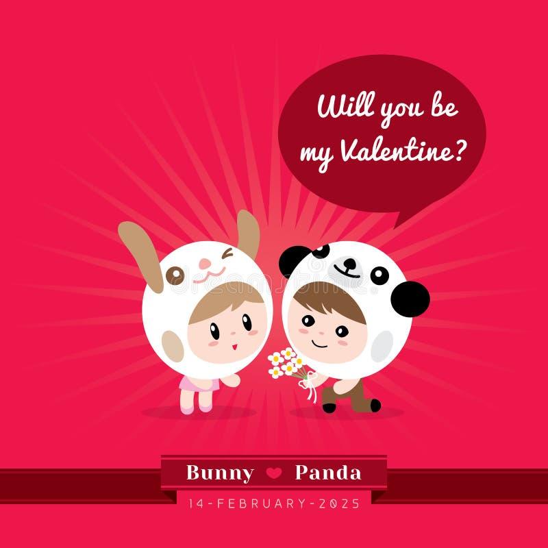 Gulliga kawaiitecken med valentin begreppsillustrationen stock illustrationer