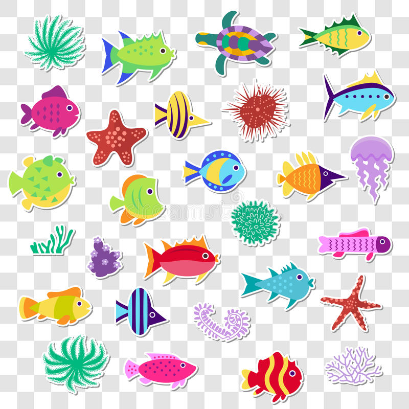 Gulliga klistermärkear av den marin- fisken för hav, djur, växter Fastställd nolla för vektor royaltyfri illustrationer