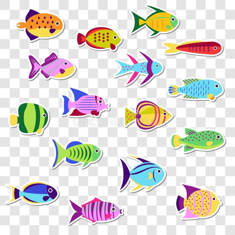Gulliga klistermärkear av den marin- fisken för hav Vektoruppsättning på det genomskinligt stock illustrationer