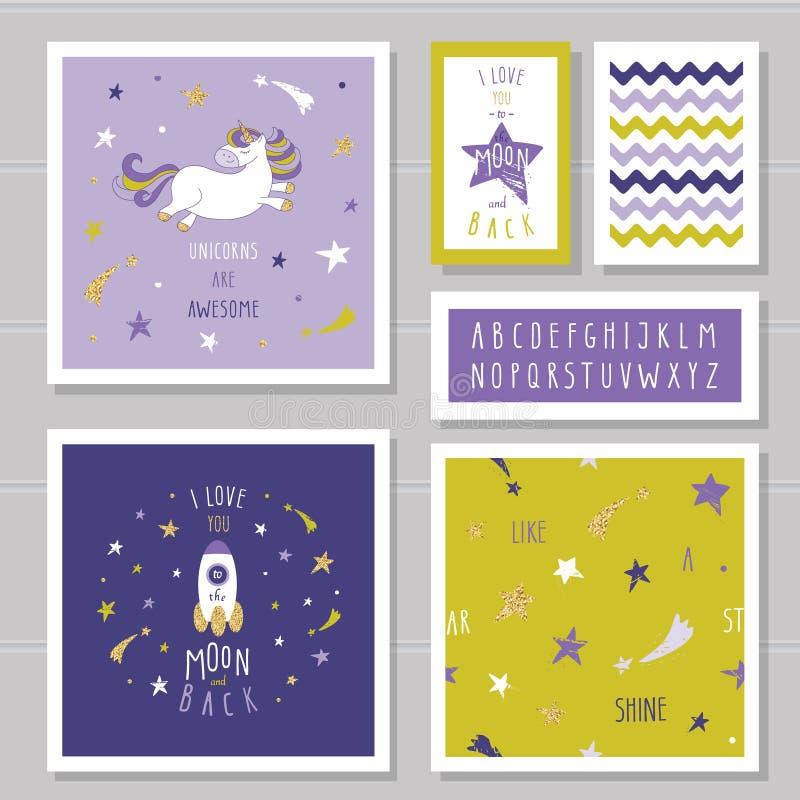 Gulliga kort med enhörningen och guld blänker stjärnor För födelsedaginbjudan baby shower, pyjamas, sleepweardesign för brunettfl stock illustrationer