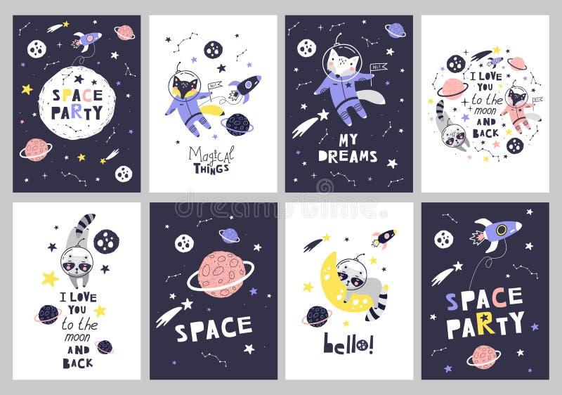 Gulliga kort med utrymmedjur Vara kan behandla som ett barn bruk för typografiaffischer, kort, reklamblad, baner, bär vektor vektor illustrationer
