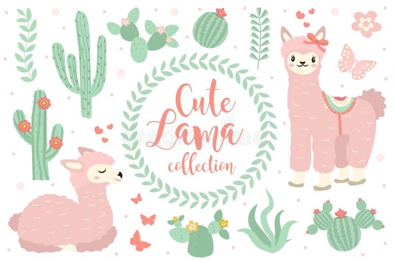 Gulliga lamauppsättningobjekt Samlingsdesignbeståndsdelar med laman, kaktus, älskvärda blommor bakgrund isolerad white royaltyfri illustrationer