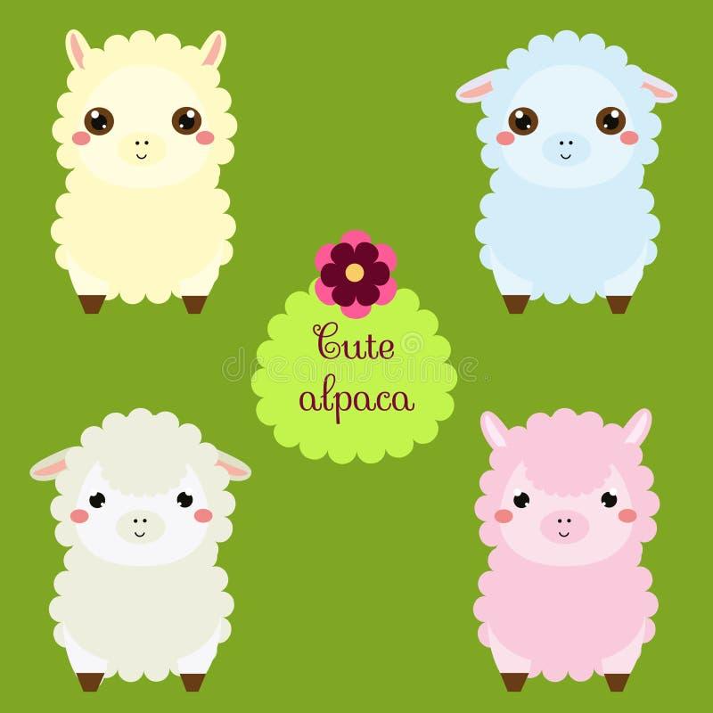 Gulliga lamor Tecknad filmlamatecken Lycklig kawaiialpaca Vektorillustrationen för ungar och behandla som ett barn mode Djurklist vektor illustrationer