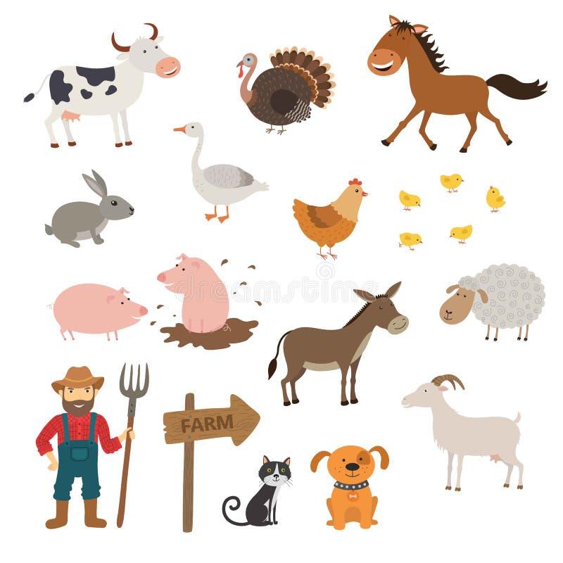Gulliga lantgårddjur ställde in i plan stil isolerat på vit bakgrund Tecknad filmlantgårddjur vektor illustrationer