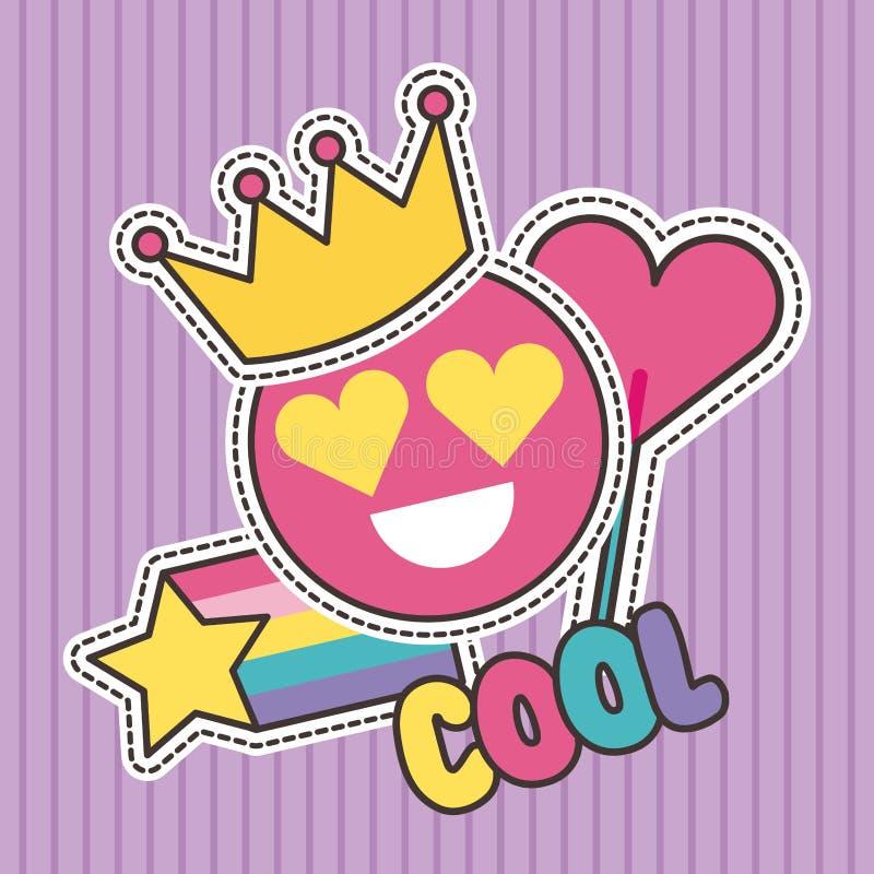 Gulliga lappar förser med märke kallt mode för leendekronahjärta stock illustrationer