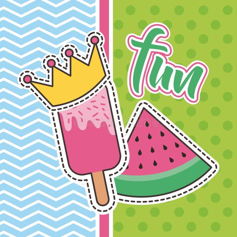 Gulliga lappar roligt klubba- och vattenmelonemblemmode royaltyfri illustrationer